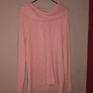 Jeanne Pierre Cable Knit Cowl Neck Sweater XL